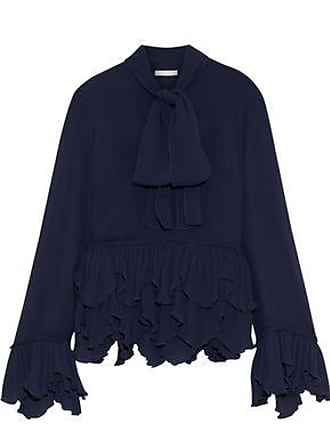See By Chloé See By Chloé Woman Pussy-bow Plissé-trimmed Crepe De Chine Blouse Navy Size 34