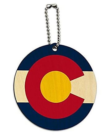 Graphics & More Graphics & More Colorado State Flag Round Wood Id Tag Luggage Card Suitcase Carry-on, Multicoloured