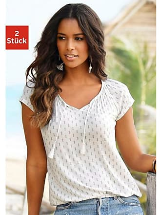 Vivance Damen Vivance Shirts (2 Stück) Alloverdruck und Uni, natur, Gr. 1feec34c3d