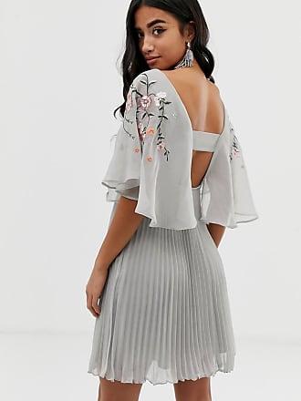 3d56a4cb87e Asos Petite ASOS DESIGN Petite flutter sleeve mini dress with pleat skirt  in embroidery - Multi