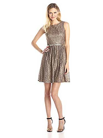 Ellen Tracy Womens Belted Lace Dress, Champagne, 6