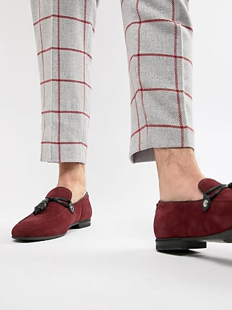 458ee8c9503 Asos Wide Fit loafers in burgundy faux suede with tassel - Tan
