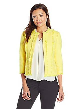Kasper Womens Petite Size Jewel Neck Tweed Flyaway Jacket, Lemongrass/White 16P