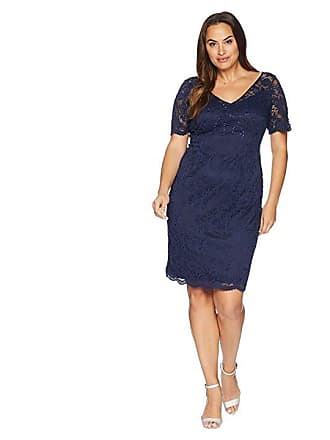 d2cd8797779 Adrianna Papell Plus Size Short Sleeve Stretch Lace Cocktail Dress with  Scattered Beads (Midnight)