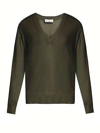 Raey V Neck Fine Knit Cashmere Sweater - Womens - Dark Khaki