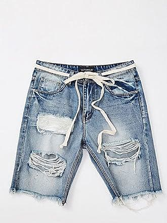 21 Men Destroyed Denim Shorts at Forever 21 Light Denim