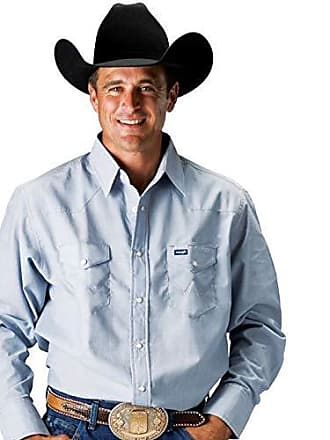 cef7e19645e Wrangler Mens Authentic Cowboy Cut Work Western Long-Sleeve Firm Finish  Shirt