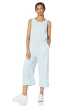 Daily Ritual Womens Tencel Sleeveless V-Back Jumpsuit, Bleach Wash, 4