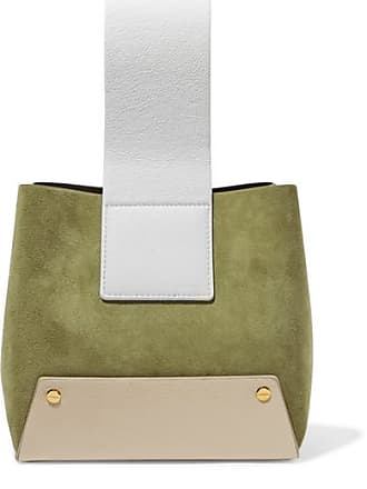 Yuzefi Tab Small Color-block Textured-leather And Suede Tote - Army green