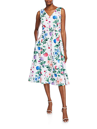 Iconic American Designer Floral Fit-&-Flare Scuba Dress