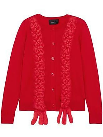 Simone Rocha Simone Rocha Woman Braided Merino Wool, Silk And Cashmere-blend Cardigan Red Size XS