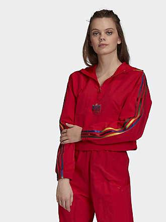 adidas Windbreaker Adicolor Half Zip Crop Regenjacken rot