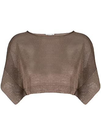 Fabiana Filippi metallic cropped jumper - Brown