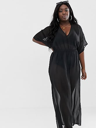5f63048ddb5 Asos Curve ASOS DESIGN Curve recycled kimono sleeve tie back chiffon maxi beach  dress in black