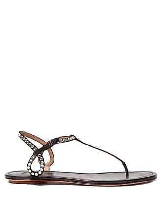 d73f7fb857d Aquazzura Almost Bare Crystal Embellished Leather Sandals - Womens - Black
