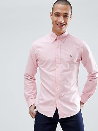 f65158d43ea4a Polo Ralph Lauren Camisa Oxford de corte slim rosa con botones y logo de  jugador de