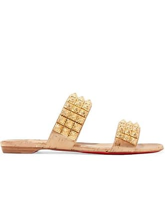 09b36e1001f9 Christian Louboutin Myriadiam Spiked Lamé-coated Cork Sandals - Gold