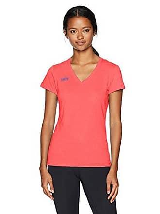 Soffe Womens Juniors 4oz V-Neck Short Sleeve Shirt, Fiery Coral, Medium
