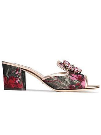 Dolce & Gabbana Dolce & Gabbana Woman Bianca Abaya Crystal-embellished Floral-jacquard Mules Army Green Size 36