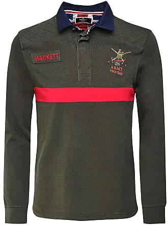 502b7f9a Hackett Hackett Mens Classic Fit Long Sleeve Army Polo Shirt Green M