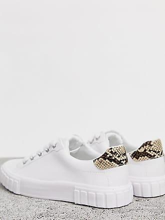 Bershka Weiße Sneaker zum Schnüren mit durchgehender Sohle