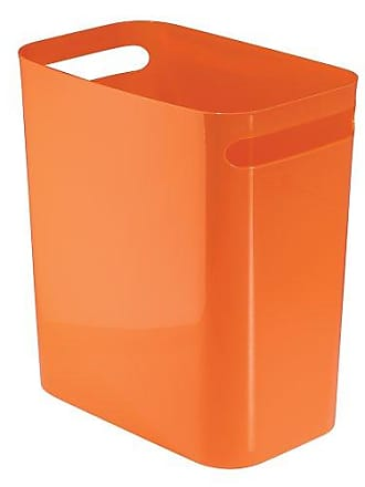 InterDesign Una Rectangular Trash Can with Handles, Waste Basket Garbage Can for Bathroom, Bedroom, Home Office, Dorm, College, 12-Inch, Orange