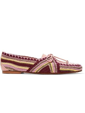 Gabriela Hearst Hays Croc-effect Leather And Crocheted Loafers - Blush