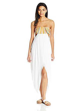 Mara Hoffman Womens Rayon Embroidered Maxi Cover Up Dress, White, Medium