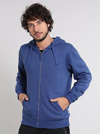 Basics Blusão Masculino Básico em Moletom com Capuz Azul