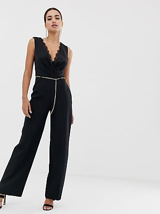 90a943375d5 Lipsy jumpsuit with lace insert and chain belt in black - Black