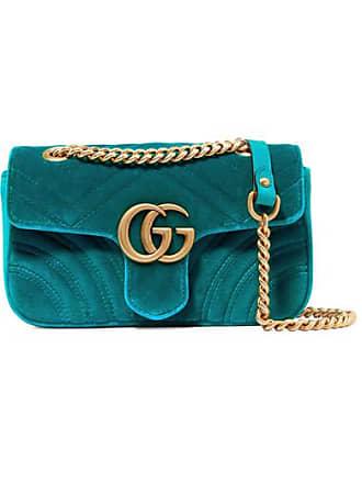 23b6559ad4c Gucci Gg Marmont Mini Quilted Velvet Shoulder Bag - Blue