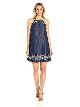 J.O.A. JOA Womens Sleeveless Shirt Dress W/Embroidered Hem, Denim Blue, X-Small