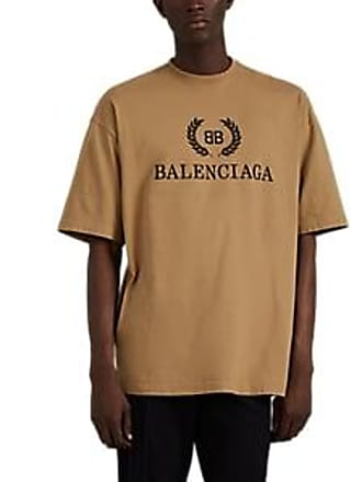 486b45e53 Balenciaga Mens Oversized Logo-Print Cotton T-Shirt - Beige, Tan Size XL