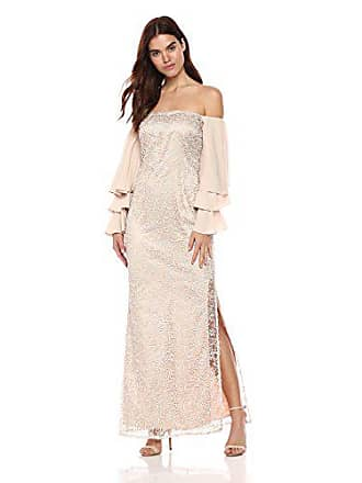 Shelli Segal Womens Soutache Gown with Tiered Ruffle Sleeves, Nude, 0