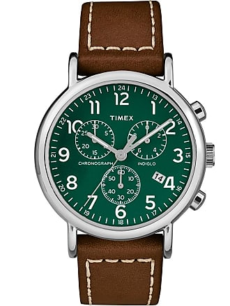 Timex Watch Unisex Weekender Chronograph 40MM 2-Piece Leather Strap Silver-Tone/brown/green Item Tw2T291009J
