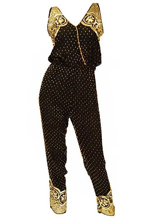 e4c66b045c16 1stdibs Black Silk Vintage Gold Beaded Jumpsuit