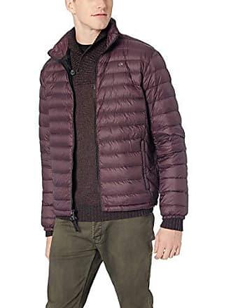 Calvin Klein Mens Packable Down Jacket, Plum Noir, Large