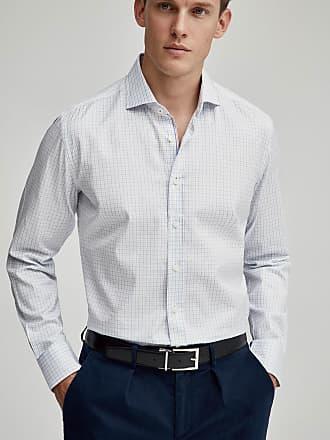 Hackett Mens Gingham Check Engineered Stripe Detail Cotton Shirt   2XL   White/Sky