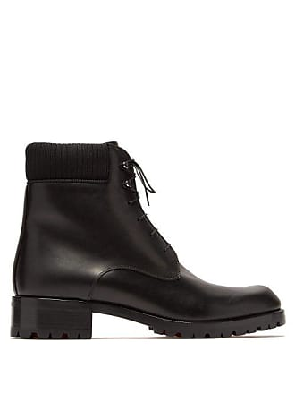 074ef4b9d09 Christian Louboutin Trapman Lace Up Leather Boots - Mens - Black