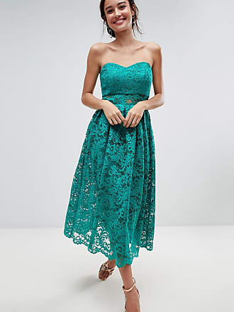 Asos ASOS Bandeau Lace Midi Prom Dress - Green