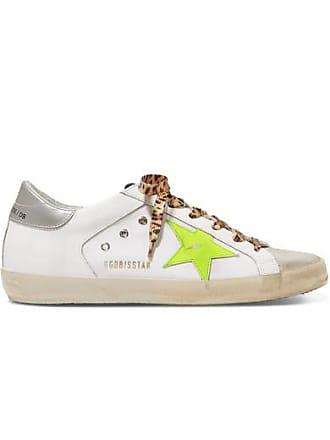 e5206613a90e Golden Goose Superstar Distressed Neon-trimmed Leather, Suede And Canvas  Sneakers - White
