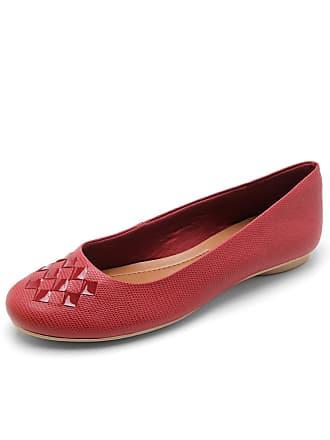 03053ed541 Usaflex Sapatilha Couro Usaflex Textura Vermelha