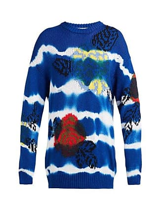 Msgm Msgm - Floral Jacquard Tie Dye Cotton Sweater - Womens - Blue Navy