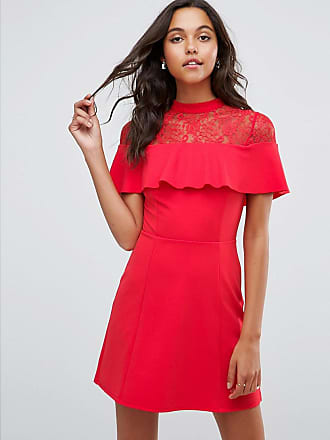 de372a9f9f Asos ASOS Mini Skater Dress with Lace Inserts and Ribbon Tie - Red