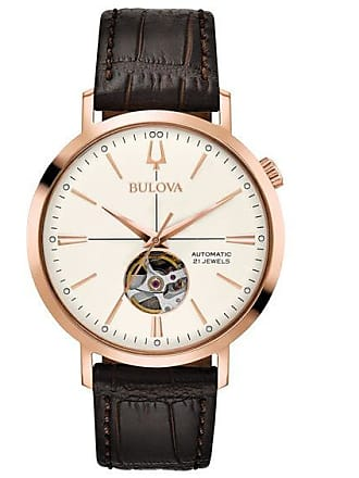 Zales Mens Bulova Aerojet Automatic Rose-Tone Strap Watch with White Skeleton Dial (Model: 97A136)