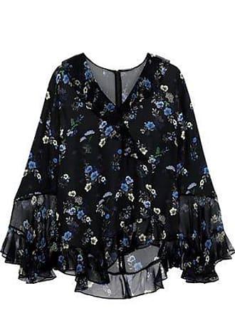 22139e9c3b737f Elie Tahari Elie Tahari Woman Ruffled Floral-print Silk-chiffon Blouse Black  Size XS