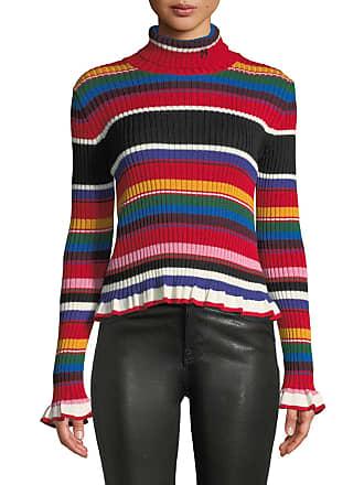 Msgm Striped Turtleneck Rainbow Ruffle Sweater