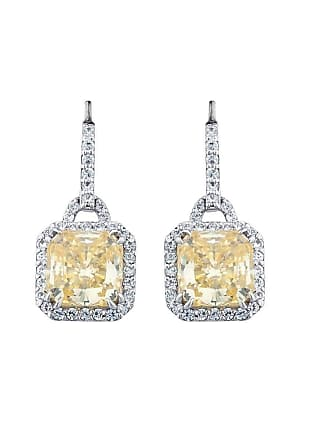 Fantasia Sterling Silver & Palladium Pave Set Vintage Canary Drop Earrings