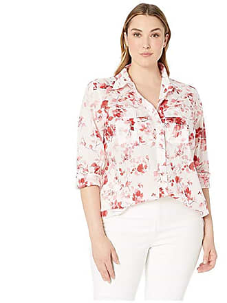 65e0d7f51562e Ralph Lauren Plus Size Floral Cotton Shirt (Silk White Multi) Womens T Shirt