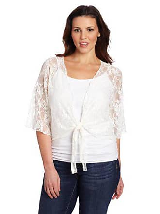 Star Vixen Womens Plus-Size 3/4 Sleeve Lace Tie Front Shrug Sweater, Ivory, 1X